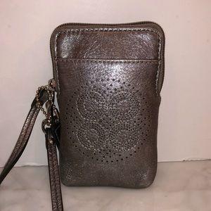 Coach artistic metallic silver wallet phone case😎